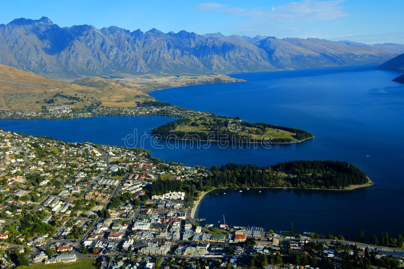 Queenstown. And Lake Wakatipu, New Zealand royalty free stock image