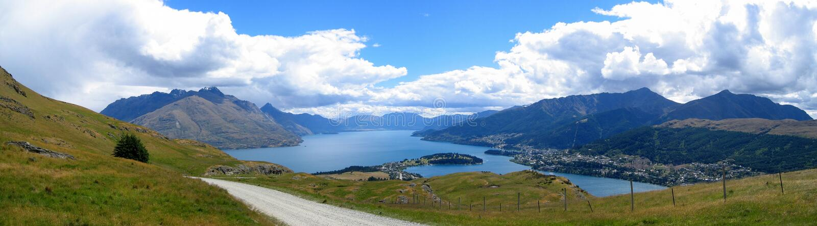 Queenstown. Panorama of Queenstown and Lake Wakatipu, New Zealand royalty free stock image