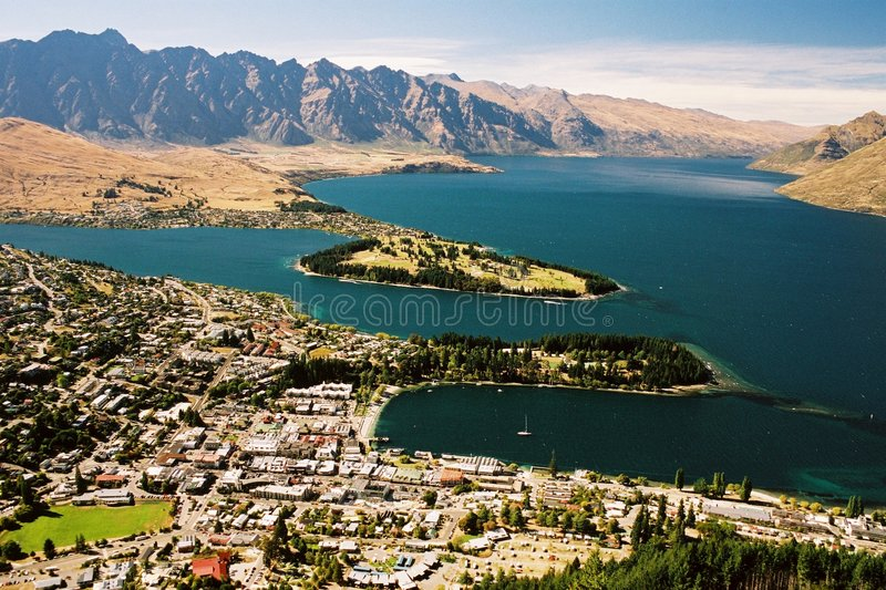 Queenstown. The beautifully located Queenstown in New Zealand royalty free stock photography