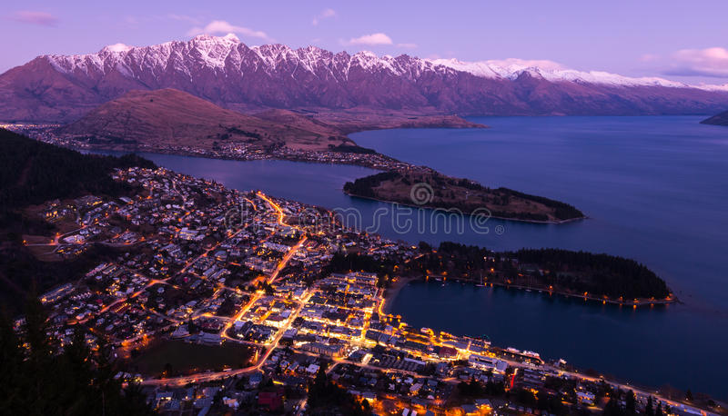 Queenstown aerial view stock photo