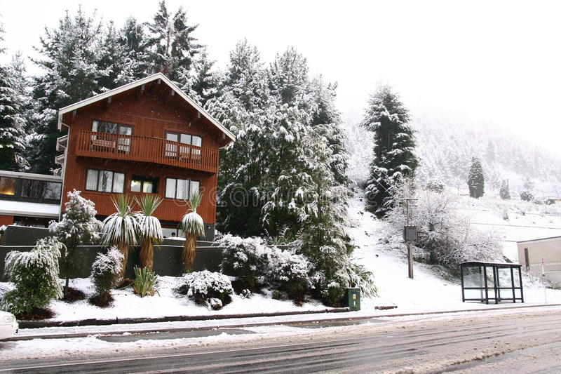 Queenstown blanketed in snow stock image