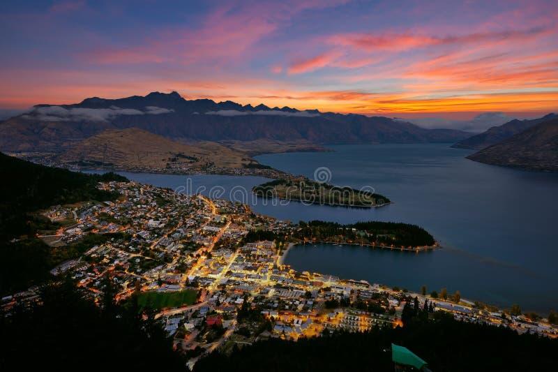 Queenstown city. In New Zealand stock images