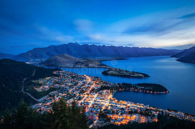 Queenstown City Lights from above, New Zealand. royalty free stock image