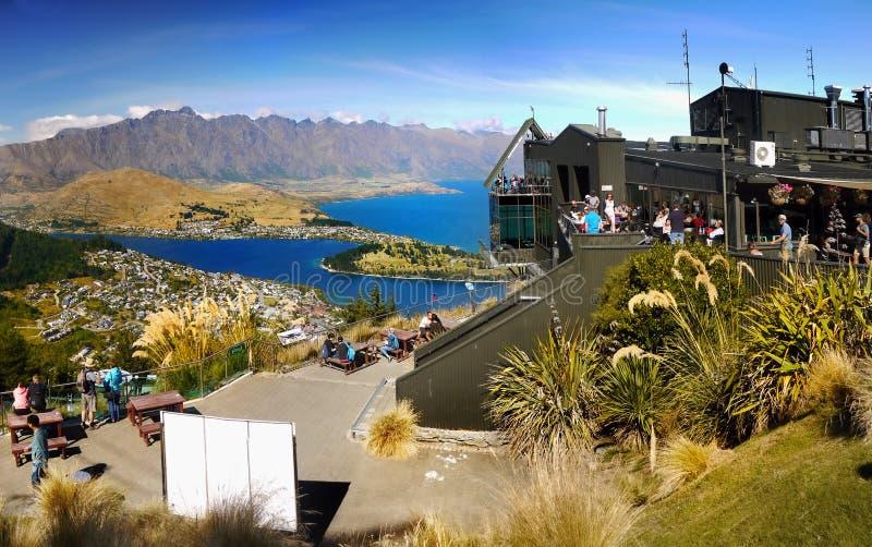 Queenstown, lago Wakatipu, opinião da cimeira da gôndola, Nova Zelândia fotos de stock