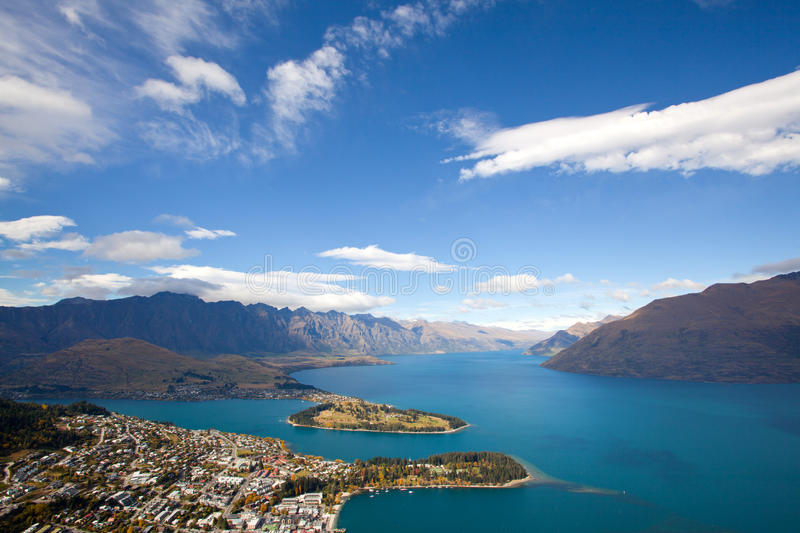 Queenstown with lake Wakatipu stock photography