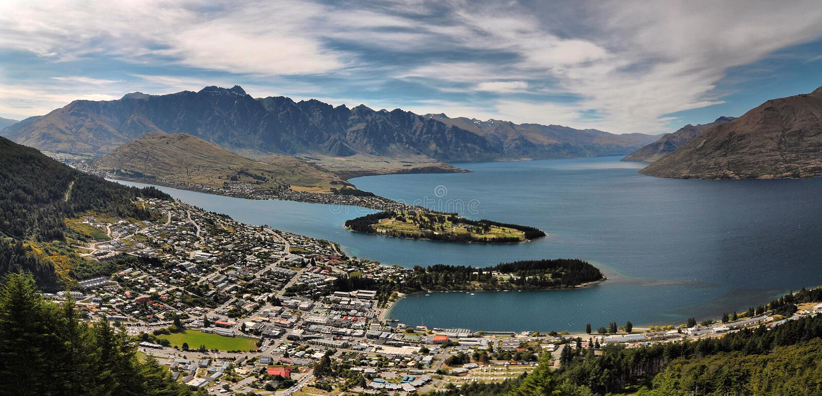 Queenstown, New Zealand. Aerial view of Queenstown, New Zealand royalty free stock photography