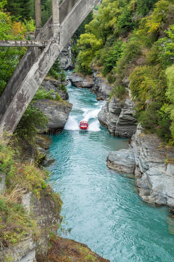 Queenstown in New Zealand. The city of adventure and nature. stock image