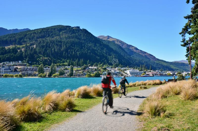 Queenstown New Zealand. Walking and cycling track in the Botanic Gardens in Queenstown, New Zealand stock image