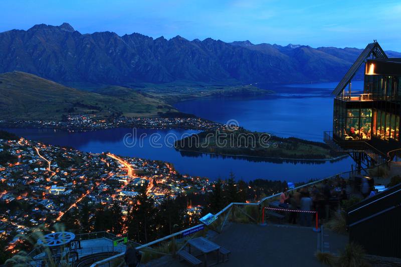 Queenstown at night. Landscape of Queenstown City New Zealand at Night royalty free stock images