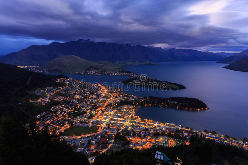 Queenstown Nightscape. Night view of Queenstown from Skyline royalty free stock photography