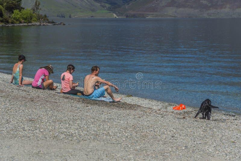 QUEENSTOWN, NOVA ZELÂNDIA - 10 DE OUTUBRO DE 2018: Um grupo de pessoas senta-se pelo lago Wakatipu Copie o espa?o para o texto foto de stock royalty free