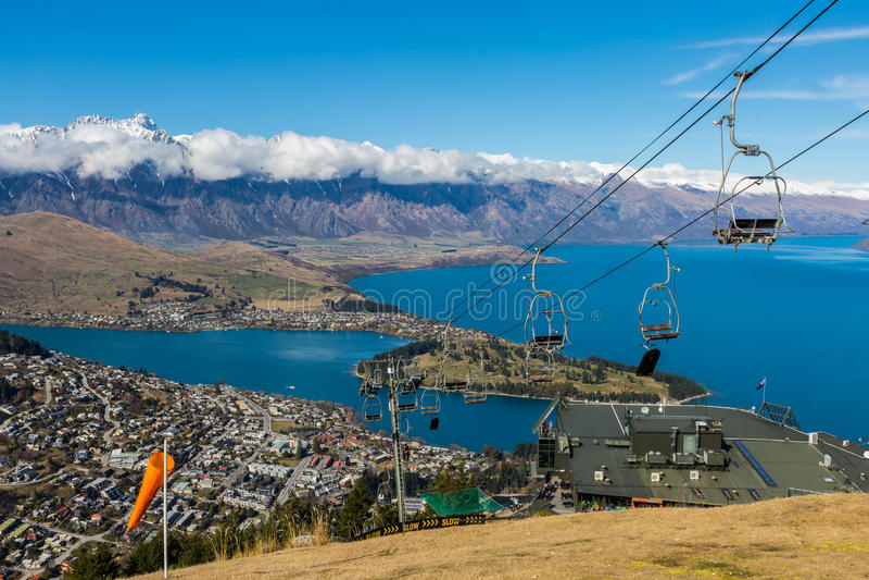 Queenstown overlook. From top of Skyline Gondola, New Zealand royalty free stock photography