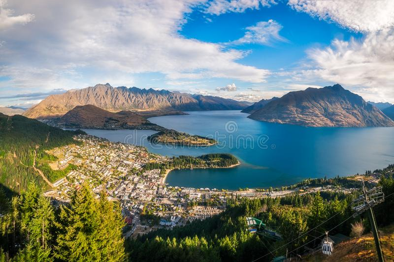 Download Queenstown Panorama At Golden Hour, New Zealand. Stock Photo - Image of harbour, beautiful: 108200228