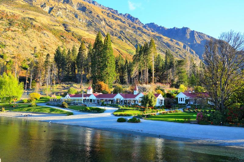Queenstown Sheep Station. Walter Peak country sheep station ranch and restaurant Lake Wakatipu Glenorchy Queenstown Otago New Zealand accessible by steam ship royalty free stock photography