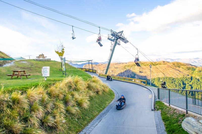Queenstown-Skyline, Neuseeland stockfotos