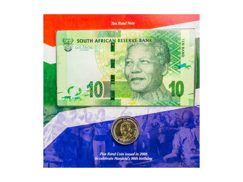 Queenstown, South Africa 16 April 2017 : Nelson Mandela coin and. 10 Rand note - Special edition issued in 2008 to celebrate his 90th birthday - Illustrative royalty free stock photo