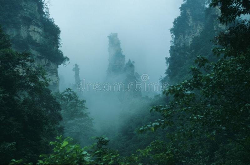 peaks in the rain stock photo