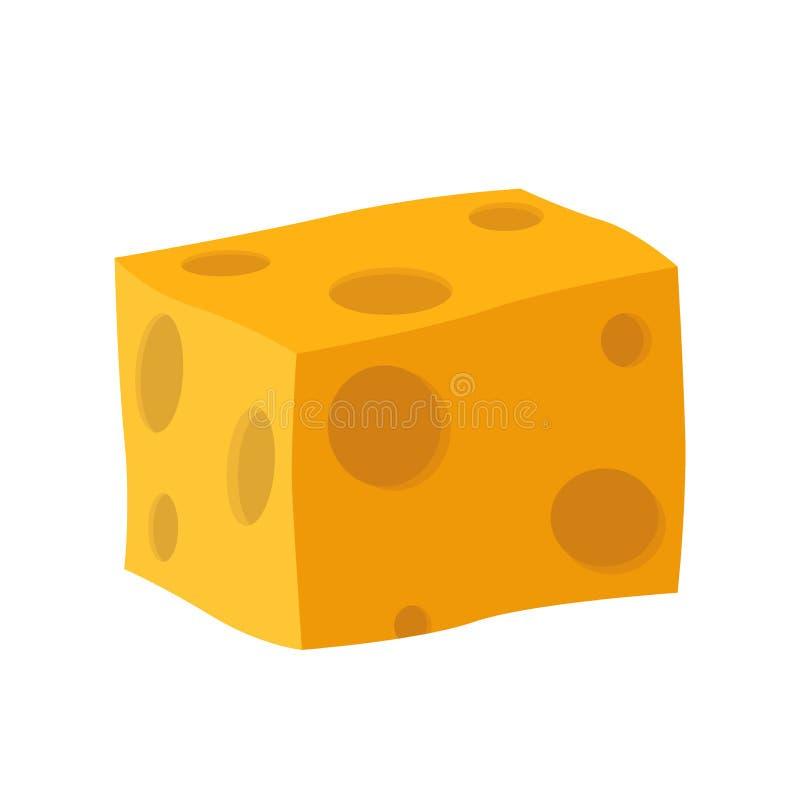 Queijo Cheddar, queijo parmesão Produto leitoso da leiteria Feito no estilo liso ilustração stock