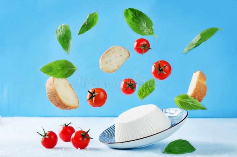 Queijo da ricota com fatias, tomates e manjericão do pão do voo foto de stock royalty free