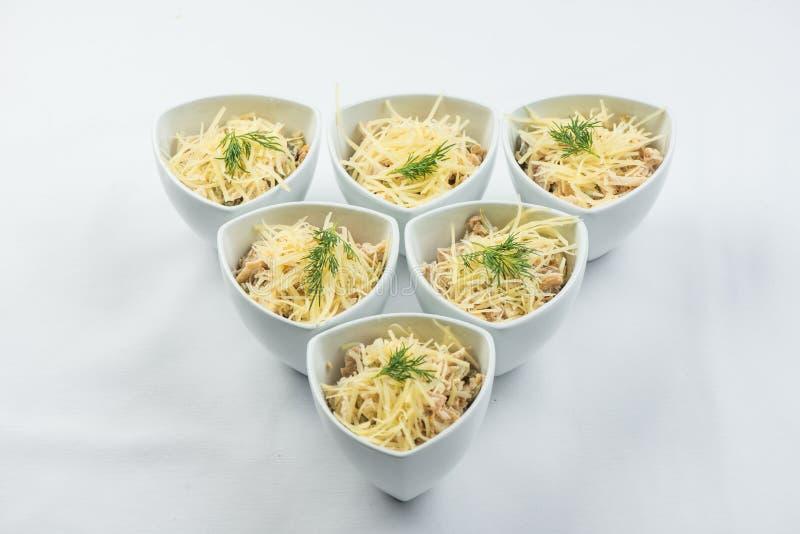 Queijo da salada, cogumelos, galinha, carne, aneto, molho na placa branca no fundo branco imagem de stock royalty free