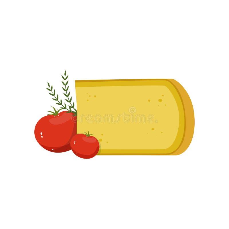 Queijo de Gouda, tomates vermelhos e folhas verdes do gengibre Alimento do gourmet Produtos láteos naturais Projeto liso do vetor ilustração do vetor