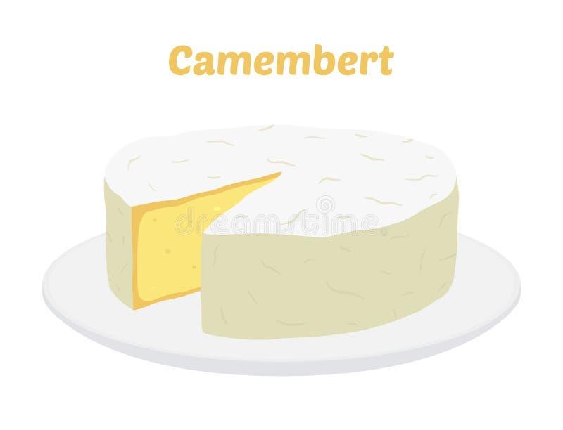 Queijo do camembert do vetor na placa Fatia, pedaço na bandeja da porcelana Estilo liso dos desenhos animados ilustração stock
