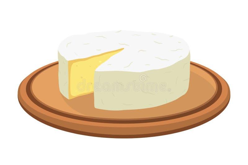 Queijo do camembert do vetor na placa Fatia, pedaço na bandeja de madeira Estilo liso dos desenhos animados ilustração stock