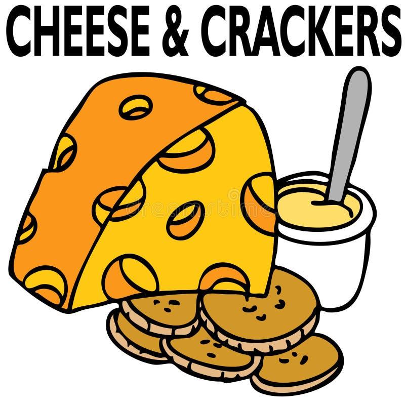 Queijo e biscoitos ilustração stock