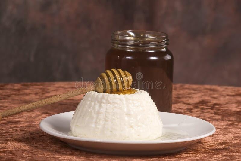 Queijo e mel imagem de stock