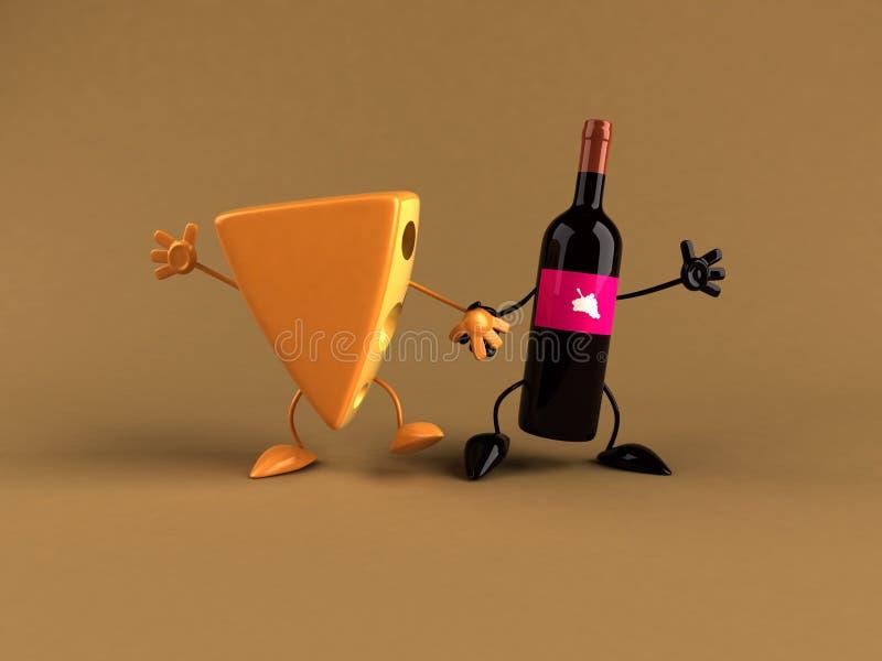 Queijo e vinho ilustração royalty free