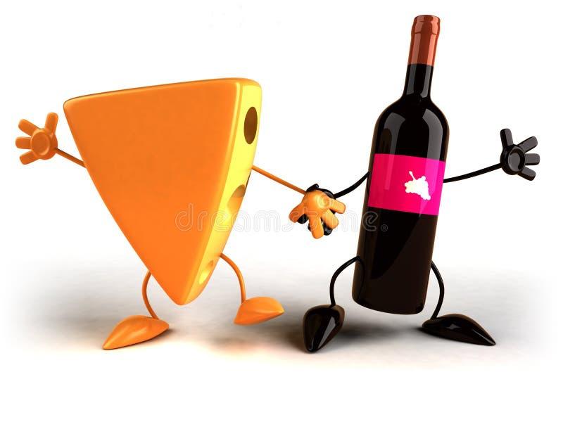 Queijo e vinho ilustração stock