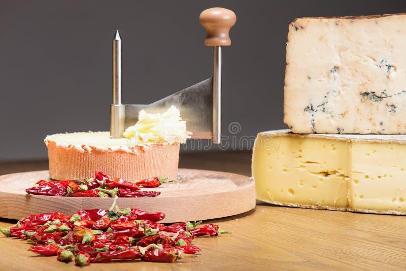 Queijo italiano com pimentas imagem de stock royalty free