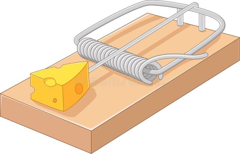 Queijo livre dos desenhos animados em uma ratoeira ilustração do vetor