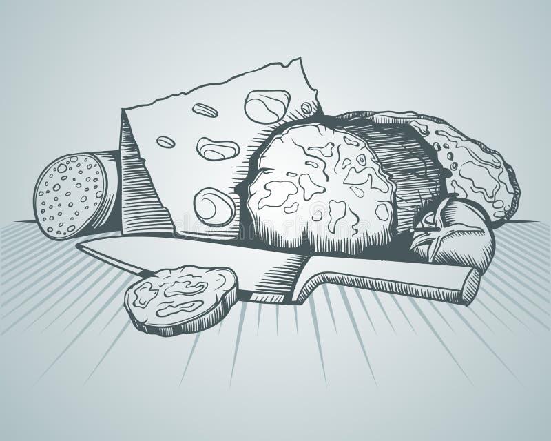 Queijo, pão e carne, imagens do esboço ilustração do vetor