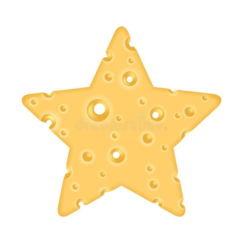 Queijo sob a forma de uma estrela ilustração stock