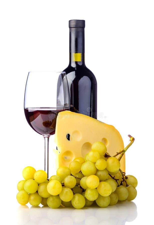 Queijo, uvas e vinho imagens de stock royalty free