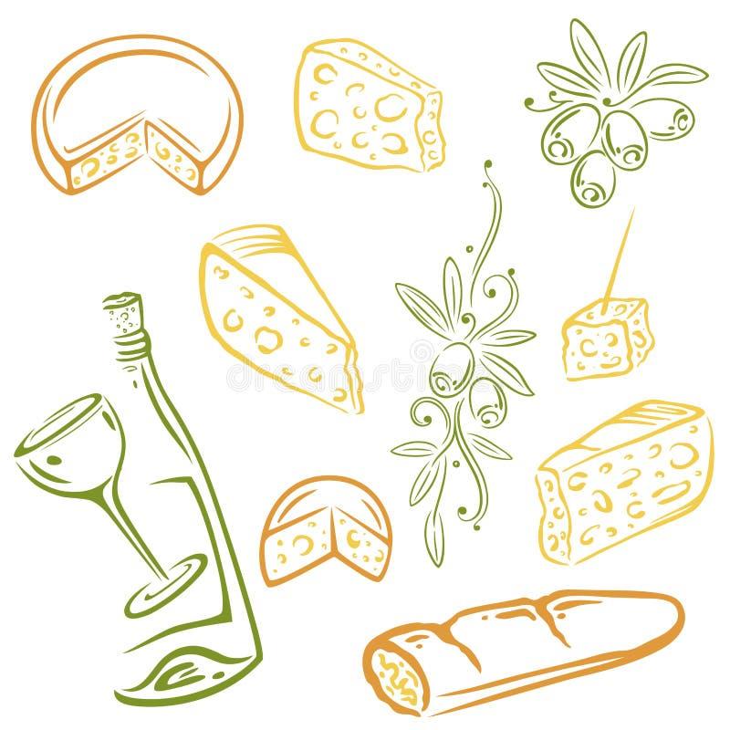 Queijo, vinho, azeitonas ilustração stock