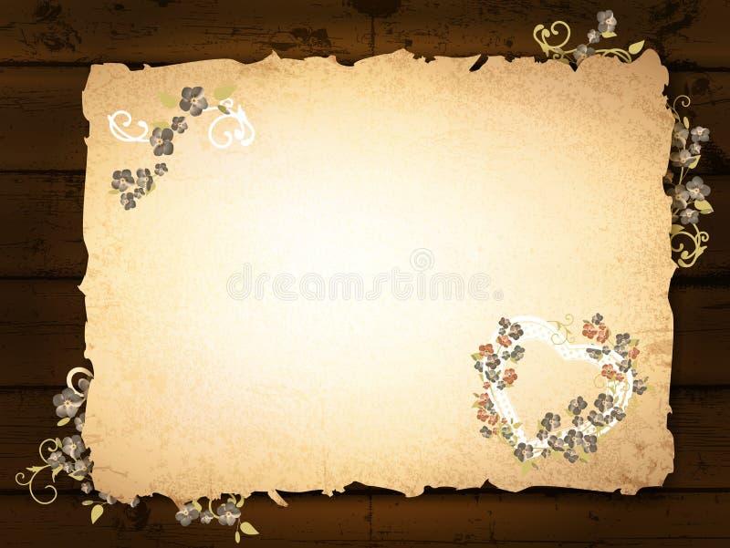 Queimado de papel no fundo de madeira ilustração stock
