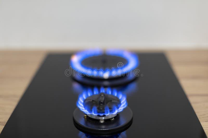 Queimador de gás na cozinha fotografia de stock