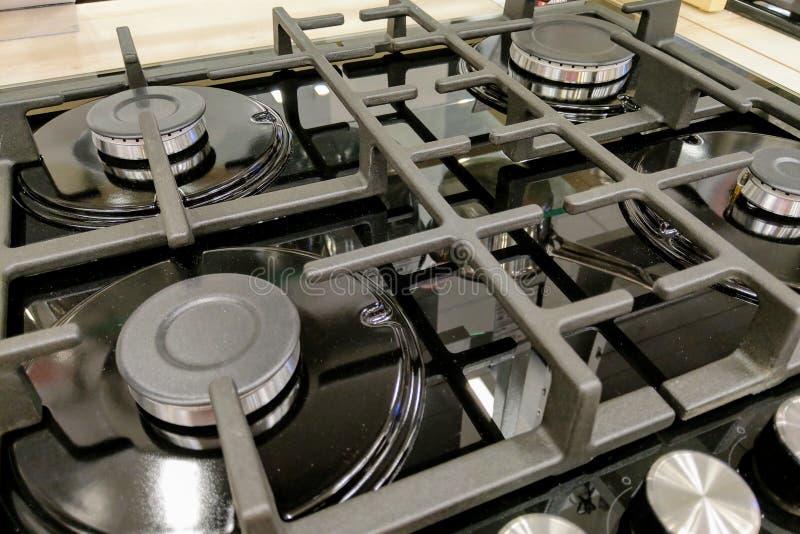 Queimador do queimador de gás no fogão de cozinha imagem de stock royalty free