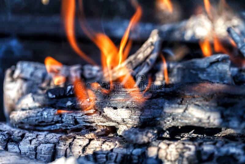 Queimadura dos logs com uma chama brilhante imagens de stock