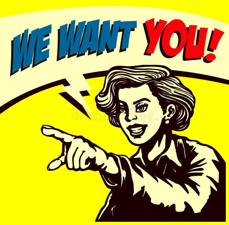 Queira-o! Mulher de negócios retro que aponta o dedo, nós estamos contratando a ilustração do estilo da banda desenhada do sinal ilustração royalty free