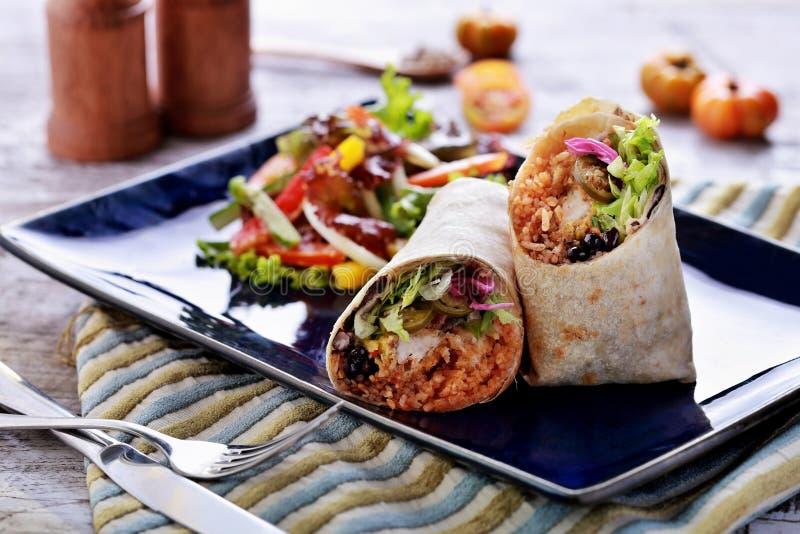 Queiro mexicain de crevette rose de burritos de cuisine images libres de droits