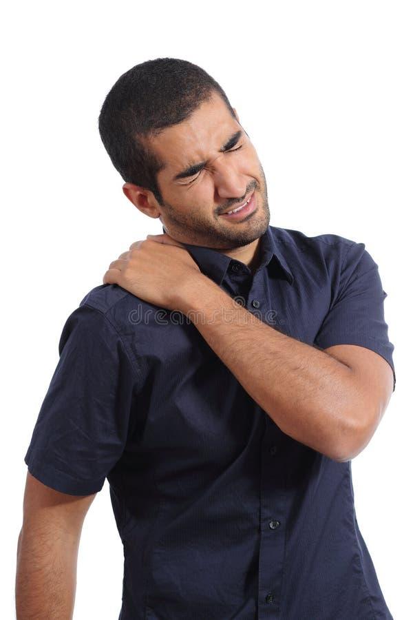 Queixas árabes do homem com dor do ombro fotos de stock