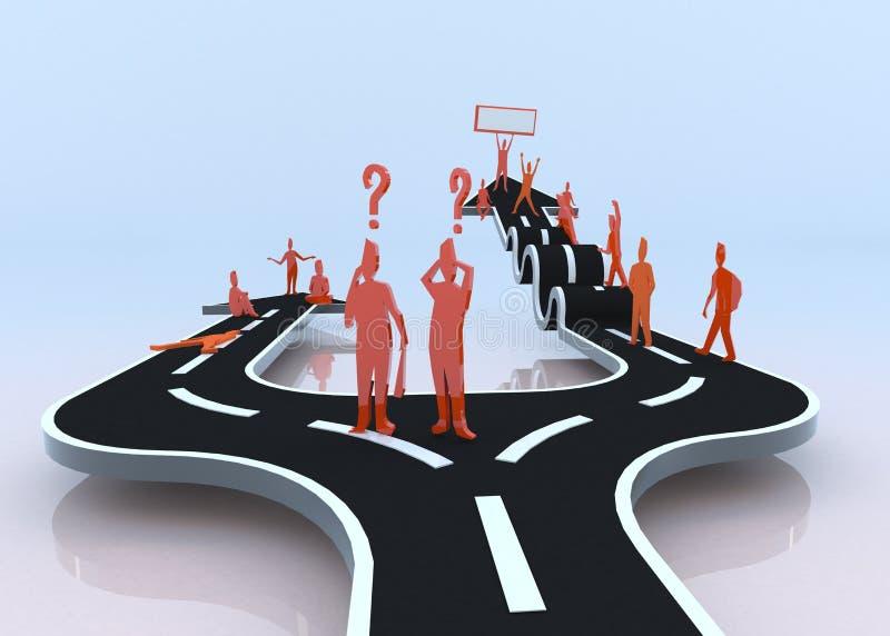 Quel chemin choisirez-vous ? La paresse ou les difficultés ? (3D) illustration de vecteur