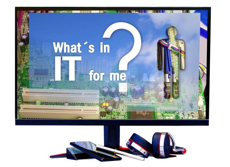 Quel est dedans informatique pour moi ? Texte sur l'écran, humoristique ou l'explication photographie stock