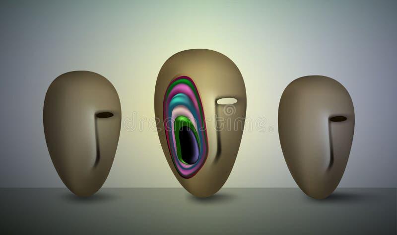 Quel s à l'intérieur de la psychologie de tête humaine, couche de structure intérieure de mentalité, de psychologie ou d'esprit, illustration de vecteur