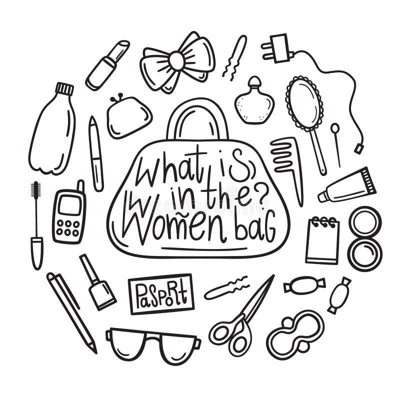 Quel ` s dans le sac du ` s de femmes Ensemble de vecteur d'éléments de maquillage Choses et accessoires du ` s de femmes Style t illustration stock