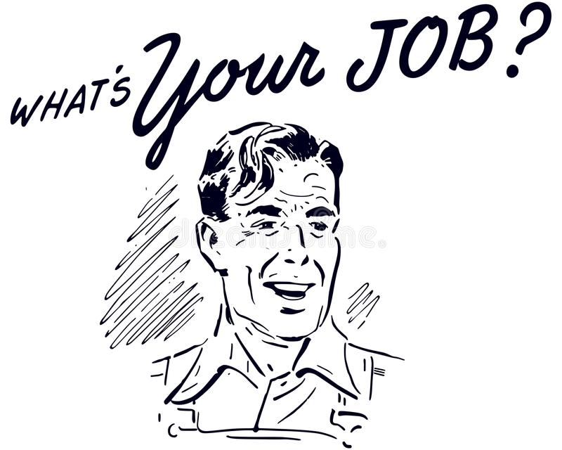 Quel ` s votre Job Retro Guy illustration libre de droits