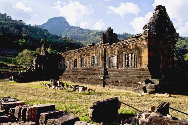 Quel UNESCO de temple de Phou Angkor photographie stock